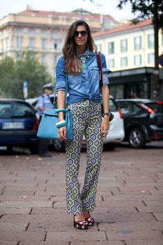 STREET STYLE SPRING 2013: MILAN FW - Prada pants get the louche treatment with a chambray button down.