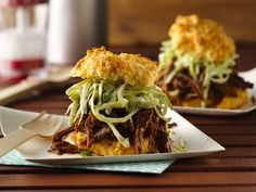 Slow Cooker BBQ Beef with Creamy Slaw on Cheese-Garlic Biscuits