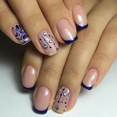 Navy Blue French Manicure Decorated Nails