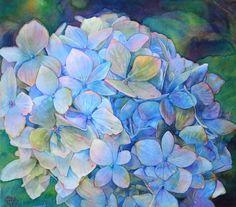Jeannie Vodden: Hydrangeas (Hortensia), watercolors