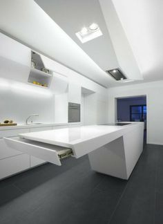 Awesome Small Space Kitchen Design Using Unique Kitchen Cabinet With White Laminated Cabinets. This picture is one of many ideas on 30 unique kitchen design ideas. Modern Kitchen Cabinets, Kitchen Cabinet Design, Modern Kitchen Design, Kitchen Ideas, Kitchen Designs, Kitchen Decor, Kitchen Time, Ikea Kitchen, Kitchen Tables