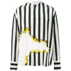 Haider Ackermann bleach and stripe print shirt ($1,440) ❤ liked on Polyvore featuring men's fashion, men's clothing, men's shirts, men's casual shirts, black, mens banded collar shirts, mens long sleeve casual shirts, mens striped shirt, mens bleached denim shirt and mens long sleeve shirts
