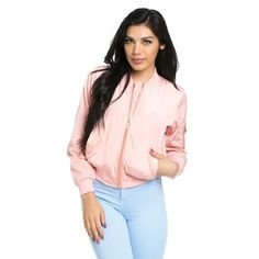 Lightweight Spring Bomber Jacket in Pink (975 CZK) ❤ liked on Polyvore featuring outerwear, jackets, lightweight bomber jacket, zip bomber jacket, zip jacket, pink jacket and pocket jacket
