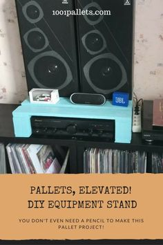 I made my Pallet Equipment Stand with only some simple hand-scratched measurements. After that, it was just a simple sanding and painting! Make thisPallet Equipment Stand with only something sharp to do a quick scratched measurement. A simple design and a strong support hold my audio equipment ... #PalletShelves, #PalletTvStand