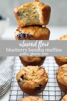 Almond Flour Blueberry Banana Muffins are easy almond flour muffins that come to. Almond Flour Blueberry Banana Muffins are easy almond flour muffins that come together in just one Gluten Free Blueberry Muffins, Banana Blueberry Muffins, Healthy Muffins, Dairy Free Muffins, Gluten Free Banana Bread, Banana Pancakes, Baking With Almond Flour, Almond Flour Recipes, Almond Meal Banana Bread