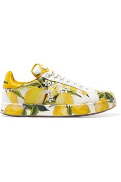 3fe2bcbe45ad DOLCE  amp  GABBANA Printed leather sneakers.  dolcegabbana  shoes   sneakers Low Heel