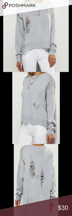 """🎄COMING SOON! Full Sleeve High Low Sweater Color: Light Grey - Material: Polyester - Length is 32.28"""" and sleeves 17.72"""" Sweaters"""