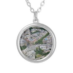 Paris France aerial view Silver Plated Necklace - jewelry jewellery unique special diy gift present