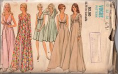 Vogue 8171 1970s Misses Lingerie Deep V Neck Negligee and Peignoir womens vintage sewing pattern by mbchills