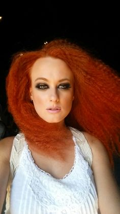Red cuper hair smokey eyes nude lips