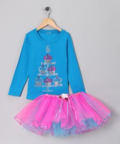 Look what I found on #zulily! Blue '6' Cupcake Tee & Tutu - Girls #zulilyfinds