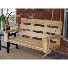 Graduation Party Decor Discover Loon Peak Patricia Cedar Rope Porch Swing Size: 4 W Finish: Natural Cedar (No Wood Finish) Pallet Garden Furniture, Diy Furniture Projects, Outdoor Furniture, Modern Furniture, Garden Pallet, Diy Furniture From Pallets, Rustic Furniture, Antique Furniture, Skid Furniture