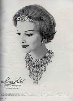 1958 Vogue advertsement for Miriam Haskell. Vintage jewelry ad. inspiration brought to you by www.aussiebeader.com
