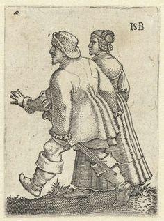 That odd sleeve inset again.  Dansend boerenpaar, Hans Sebald Beham, 1537