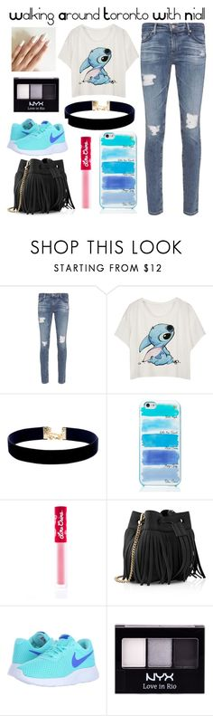 """""""Walking Around Toronto With Niall"""" by hipopaws on Polyvore featuring AG Adriano Goldschmied, Vanessa Mooney, Kate Spade, Lime Crime, Whistles, NIKE and NYX"""