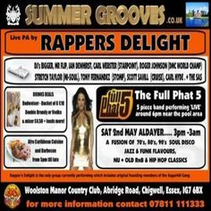 Summer Grooves at Woolston Manor Country Club, Abridge Road, Essex, IG7 6BX, UK on May 02, 2015 to May 03, 2015 at 3:00pm to 3:00am, The promoters that bring you the UK Biggest Monthly Soul Night. URLs: Tickets: http://atnd.it/22339-0 Facebook: http://atnd.it/22339-1 Category: Nightlife Price: £15 Artists: Rapper's Delight, Sugar HIll Gang, Bigger, Mr Flip, Ian Dewhirst, Carl Webster, Roger Johnson (DMC World mixing Champ), Stretch Taylor, Tony Fernandez, Scott Savill, Carl Hyde, the SAS
