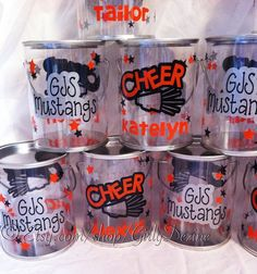 Paint can idea Cheer Coach Gifts, Cheer Coaches, Cheer Gifts, Cheer Mom, Cheer Stuff, Cheer Spirit, Spirit Gifts, Cheerleading Crafts, Football Treats
