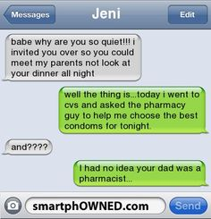 Awkward Parents - Jenibabe why are you so quiet!!! i invited you over so you could meet my parents not look at your dinner all nightwell the thing is...today i went to cvs and asked the pharmacy guy to help me choose the best condoms for tonight.and????I had no idea your dad was a pharmacist...