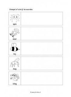 Werkblad kriebelbeestjes - Woorden stempelen