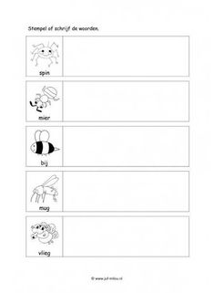 Werkblad kriebelbeestjes - Woorden stempelen I Love School, Too Cool For School, Dutch Language, Travel Toys, Spring Theme, Letters, Spelling, Google, Crowns
