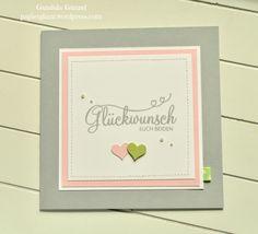 Zarte Hochzeitskarte, mit zwei Herzen