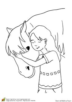 Illustration à colorier d'une petite fille entrain de caresser son ami poney