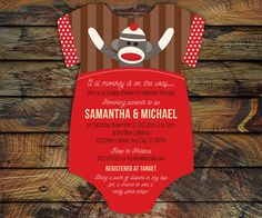 Items similar to Sock Monkey Invitations, bodysuit Invitations, Baby Shower invite -- 20 die cut printed cards in any color on Etsy Monkey Invitations, Unique Invitations, Baby Shower Invitations For Boys, Baby Shower Themes, Baby Boy Shower, Baby Shower Decorations, Baby Showers, Shower Ideas, Sock Monkey Party