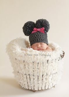 Newborn Charcoal Gray Double Pom Pom Crochet Hat Photography Prop with Removable Pink Bow