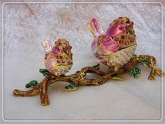 home wealth decoration bird trinket box 2 hand painted birds on branch jewelry box display birds crafts wedding gifts