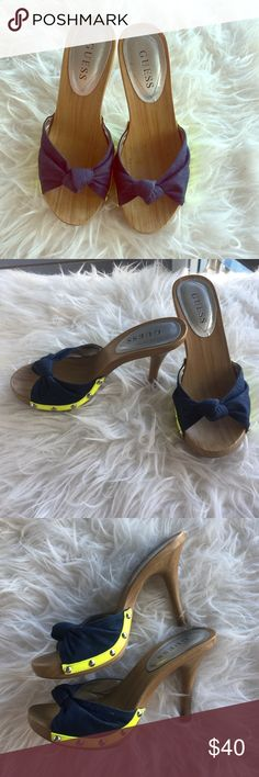 Guess Wglissa Blue and Neon Heels Size 7 Guess Wglissa Blue and Neon Heels Size 7, in original box! worn once and in excellent condition. Guess Shoes Heels