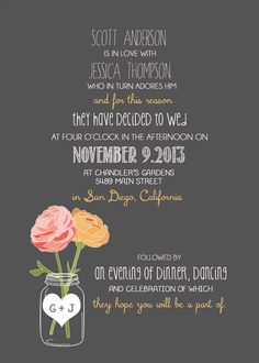 Vintage Wedding Invitation Package with Flowers by RockStarPress