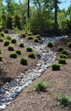 Garden design with landscaping a dry river bed design ideas, pictures, remodel, and River Rock Landscaping, Landscape Design, Dry Riverbed Landscaping, Garden, Landscaping Tips, Landscaping With Rocks, Hillside Landscaping, Backyard Landscaping, Backyard