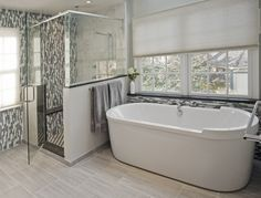 freestanding tub next to glass shower - Google Search