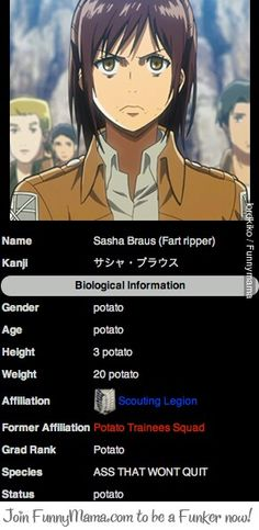 It's official, Sasha's a potato.---Are we not going to discuss her species?
