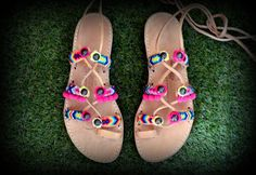 Handmade leather sandals, decorated with multicolored friendship straps Please Note ~All of our items are made to order and will take days to Boho Sandals, Lace Up Sandals, Gladiator Sandals, Leather Sandals, 12 Days, Handmade Leather, Friendship, Note, Trending Outfits
