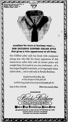 "Brooks Brothers ""Clifford"" collar advertisement, 1969."