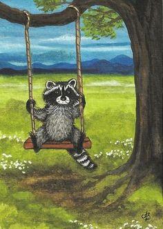 Raccoon Summer Tree Swing Art Original Painting ACEO | eBay
