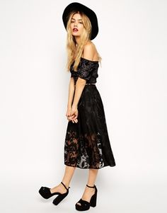 ASOS Sheer Lace Organza Midi Skirt - Black by: ASOS @ASOS (US)