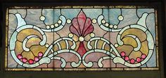 """Antique American Stained and Jeweled Glass Transom 45.5"""" x 22.5""""  fid5013"""