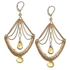 Chandelier earrings in golden citrine.