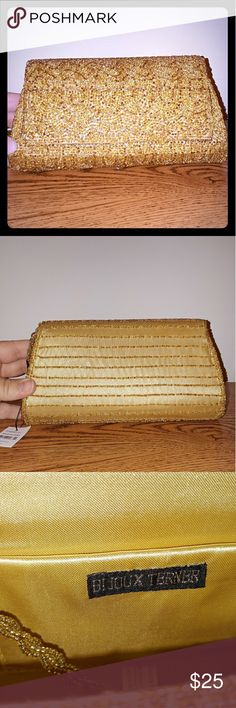 BNWT! Gold Beaded Evening Clutch Perfect condition. Chain included. Bought in the Caribbean. Smoke free home. Bijoux Terner Bags Clutches & Wristlets