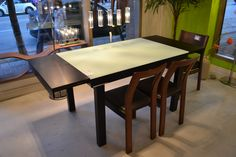 Our - the with the black walnut frame and frosted white glass top - seats up to 6 people Extension Dining Table, Best Sellers, Home Improvement, Dining Room, House, Inspiration, Extensions, Furniture, Home Decor