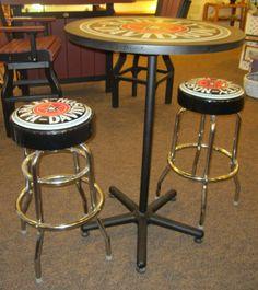 Harley Davidson Pub Table and Backrest Stool Set w/Vintage Black ...
