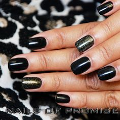 Shellac Black Pool & Gold VIP. Done at Nails Of Promise, Gants Hill. Ilford. #nailsofpromise #nailsgantshill #beauty #gantshill