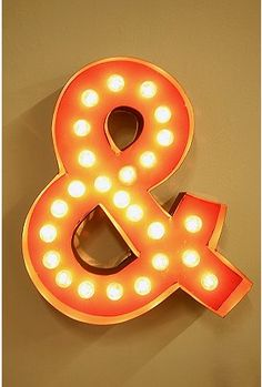 Ampersand marquee light from Urban Outfitters.