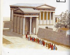 A reconstruction of the Erechtheum (ca. BCE) on the Athenian Acropolis. Image taken from a Powerpoint presentation in my Greek and Roman Architecture course. Ancient Greek Architecture, Roman Architecture, Religious Architecture, Historical Architecture, Ancient Greek Art, Ancient Rome, Ancient Greece, Athens Acropolis, Parthenon
