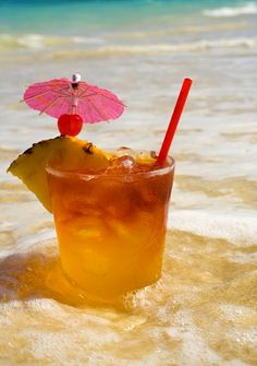 A Mai tai #cocktail in the water at the #beach