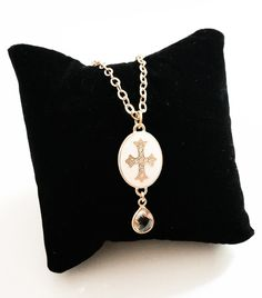 Gold Ivory Enamel Crystal Quartz Cross Pendant Necklace Matte Layering Free USA Shipping - pinned by pin4etsy.com