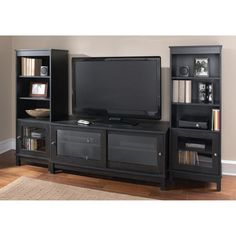 """Black Entertainment Center TVs to 55"""" Set Stand Audio Media Gaming Console Game"""