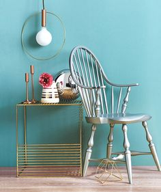 Silver and gold furniture with blue wall   Presenting Real Simple's carefully curated list of the very best online sources for furniture. Find your ideal sofa, table, bed, and more by shopping these standout sites.